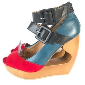 Qupid faux leather wedge cut out heels